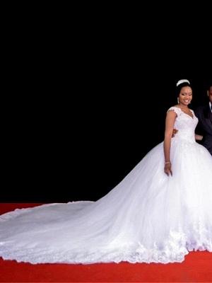 A-Line Wedding Dresses V Neck Watteau Train Organza Sleeveless Sexy Wedding Dress in Color_2