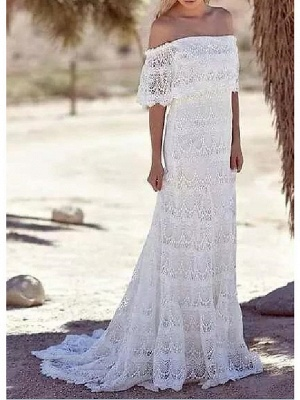 Sheath \ Column Wedding Dresses Off Shoulder Sweep \ Brush Train Lace Half Sleeve Country Plus Size_2