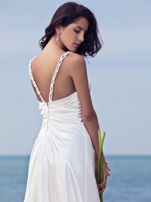 Sheath \ Column Wedding Dresses Sweetheart Neckline Sweep \ Brush Train Stretch Satin Spaghetti Strap Open Back_6