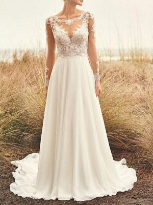 A-Line Wedding Dresses Bateau Neck Sweep \ Brush Train Chiffon Lace Long Sleeve Beach Boho Backless Illusion Sleeve_1
