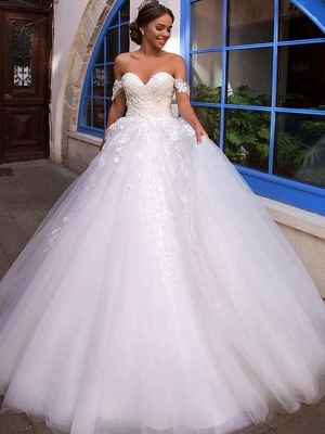 Ball Gown Off Shoulder Court Train Lace Tulle Short Sleeve Country Romantic Illusion Detail Backless Wedding Dresses_4