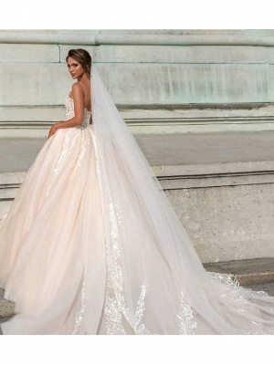Ball Gown Sweetheart Neckline Chapel Train Lace Tulle Spaghetti Strap Wedding Dresses_4
