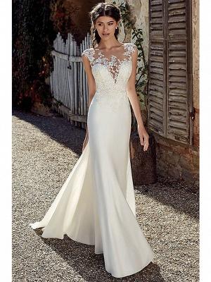 A-Line Wedding Dresses Bateau Neck Court Train Chiffon Lace Tulle Cap Sleeve Illusion Detail Backless_1