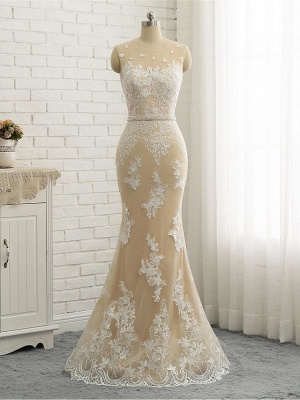 Mermaid \ Trumpet Jewel Neck Chapel Train Lace Tulle Lace Over Satin Regular Straps Formal See-Through Wedding Dresses_6