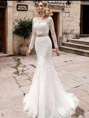 Mermaid \ Trumpet Wedding Dresses Jewel Neck Court Train Lace Tulle Lace Over Satin Long Sleeve Plus Size Illusion Sleeve_1