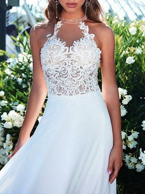 A-Line Wedding Dresses Halter Neck Sweep \ Brush Train Chiffon Strapless Romantic Boho Illusion Detail Backless_3