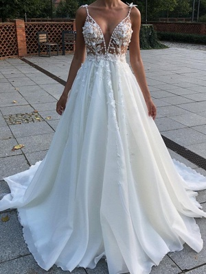 A-Line Wedding Dresses V Neck Spaghetti Strap Sweep \ Brush Train Lace Sleeveless Country Plus Size_1