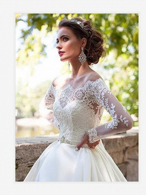 A-Line Wedding Dresses Off Shoulder Court Train Lace Long Sleeve Country Illusion Sleeve_2