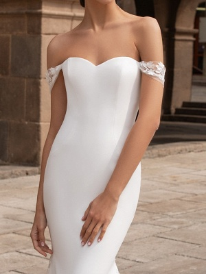 Mermaid \ Trumpet Wedding Dresses Off Shoulder Court Train Polyester Short Sleeve Simple Plus Size_3