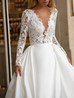 A-Line Wedding Dresses V Neck Sweep \ Brush Train Lace Satin Long Sleeve Plus Size_2