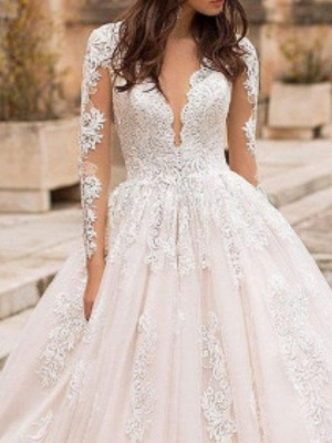 A-Line V Neck Court Train Lace Tulle Short Sleeve Vintage Sexy Wedding Dress in Color Backless Wedding Dresses_3