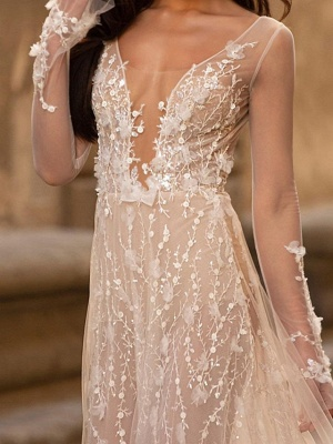 A-Line Wedding Dresses Scoop Neck Floor Length Lace Tulle Long Sleeve Beach Sexy See-Through_2
