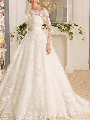 A-Line Wedding Dresses Off Shoulder Sweep \ Brush Train Tulle Regular Straps Illusion Sleeve_2