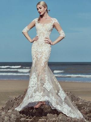 Mermaid \ Trumpet Wedding Dresses Scoop Neck Sweep \ Brush Train Lace Tulle Half Sleeve Beautiful Back_2