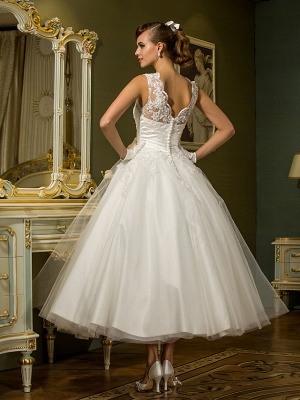 A-Line Wedding Dresses High Neck Ankle Length Lace Over Tulle Regular Straps Vintage Little White Dress Illusion Detail_4