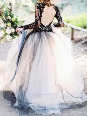 Ball Gown Wedding Dresses V Neck Sweep \ Brush Train Polyester Long Sleeve Formal Plus Size Black Modern_2
