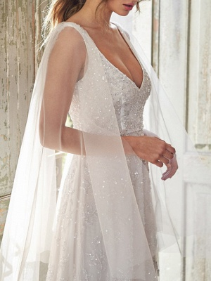 A-Line Wedding Dresses V Neck Chapel Train Lace Sleeveless Sexy Wedding Dress in Color_6