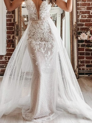 A-Line Wedding Dresses Spaghetti Strap Plunging Neck Court Train Detachable Lace Tulle Sleeveless Country Plus Size_2