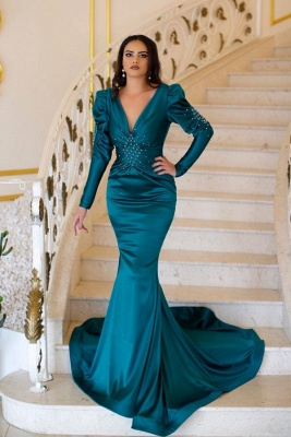 ZY092 Green Evening Dresses With Sleeves | Prom Dresses Long Cheap_1
