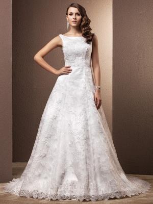 A-Line Wedding Dresses Bateau Neck Chapel Train All Over Floral Lace Regular Straps_2