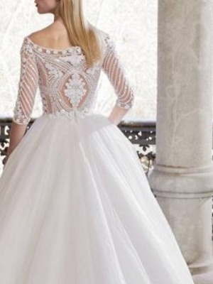 Ball Gown Wedding Dresses Off Shoulder Sweep \ Brush Train Tulle Half Sleeve Plus Size Illusion Sleeve_2