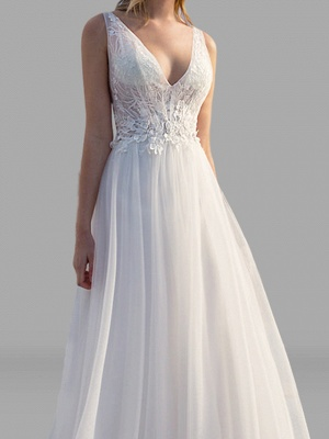 A-Line Wedding Dresses V Neck Floor Length Lace Tulle Sleeveless Beach Sexy See-Through Backless_2