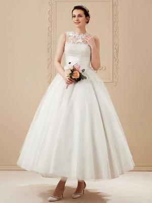 A-Line Wedding Dresses High Neck Ankle Length Lace Over Tulle Regular Straps Vintage Little White Dress Illusion Detail_9