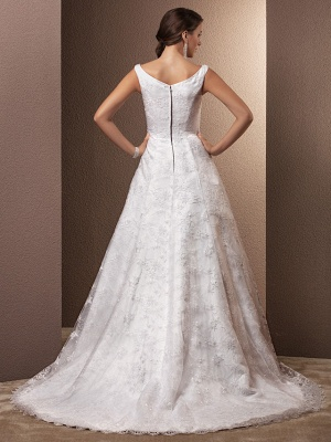 A-Line Wedding Dresses Bateau Neck Chapel Train All Over Floral Lace Regular Straps_4