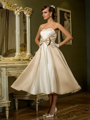 A-Line Wedding Dresses Sweetheart Neckline Tea Length Satin Strapless Casual Vintage Little White Dress Plus Size_4