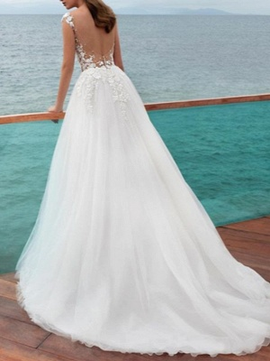 A-Line Wedding Dresses Jewel Neck Sweep \ Brush Train Lace Tulle Regular Straps Romantic Beach Illusion Detail Backless_2