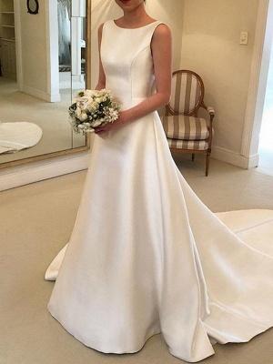 A-Line V Neck Court Train Satin Spaghetti Strap Formal Plus Size Wedding Dresses_1