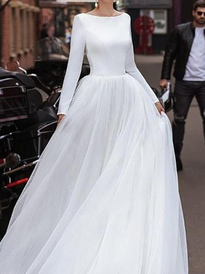 A-Line Wedding Dresses Jewel Neck Sweep \ Brush Train Satin Tulle Long Sleeve Simple_3