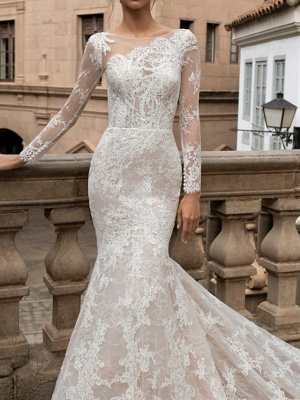 Mermaid \ Trumpet Bateau Neck Sweep \ Brush Train Lace Long Sleeve Romantic Boho Sexy Backless Illusion Sleeve Wedding Dresses_3