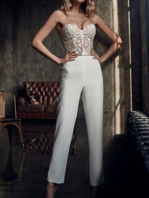 Two Piece Jumpsuits Wedding Dresses V Neck Sweep \ Brush Train Stretch Satin Long Sleeve Country Plus Size_5