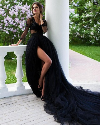 ZY106 Beautiful Evening Dresses Long Black | Evening Wear With Lace Sleeves_2
