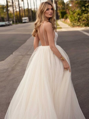 A-Line Wedding Dresses V Neck Court Train Tulle Spaghetti Strap Romantic Casual Boho Illusion Detail Backless_2