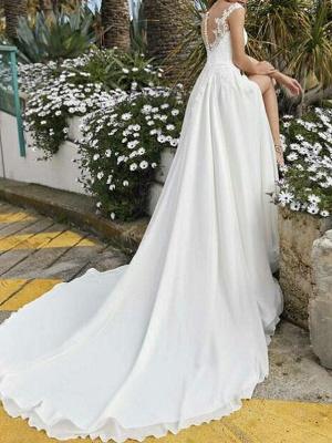 A-Line Wedding Dresses V Neck Sweep \ Brush Train Chiffon Lace Sleeveless Beach Sexy_2