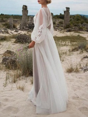 A-Line Wedding Dresses Jewel Neck Floor Length Lace Tulle Long Sleeve Beach Sexy See-Through_2