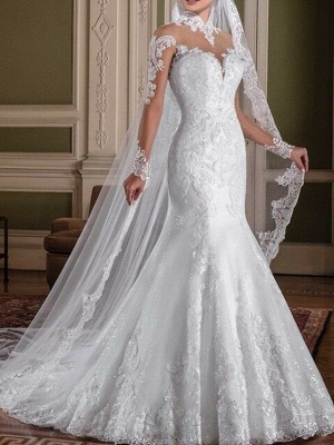 Mermaid \ Trumpet Wedding Dresses High Neck Sweep \ Brush Train Lace Long Sleeve Sexy See-Through Illusion Sleeve_1