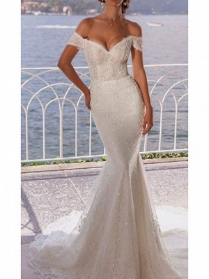 Mermaid \ Trumpet Wedding Dresses Off Shoulder Court Train Lace Short Sleeve_1