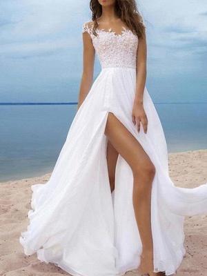 A-Line Wedding Dresses Off Shoulder Sweep \ Brush Train Chiffon Cap Sleeve_1