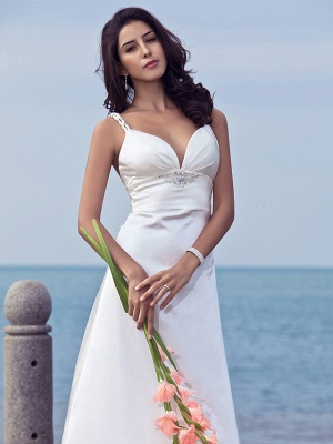 Sheath \ Column Wedding Dresses Sweetheart Neckline Sweep \ Brush Train Stretch Satin Spaghetti Strap Open Back_4