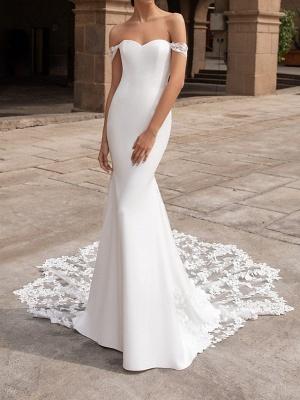 Mermaid \ Trumpet Wedding Dresses Off Shoulder Court Train Polyester Short Sleeve Simple Plus Size_1