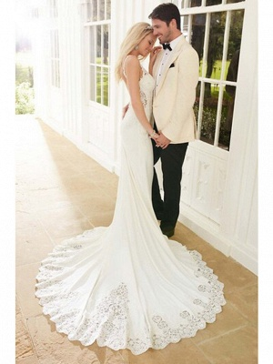 Mermaid \ Trumpet Wedding Dresses V Neck Chapel Train Lace Stretch Satin Spaghetti Strap See-Through Beautiful Back_3