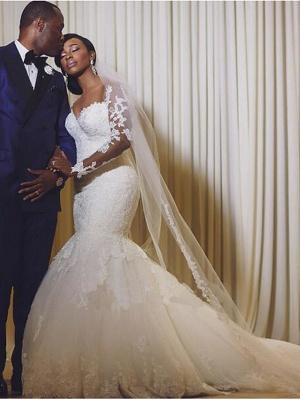 Mermaid \ Trumpet Wedding Dresses Scoop Neck Court Train Organza Long Sleeve Sexy Wedding Dress in Color_2
