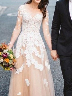 A-Line Wedding Dresses Jewel Neck Sweep \ Brush Train Lace Tulle Long Sleeve Formal See-Through_3