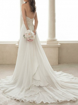 A-Line Wedding Dresses Sweetheart Neckline Sweep \ Brush Train Lace Tulle Strapless Romantic Simple Backless_2