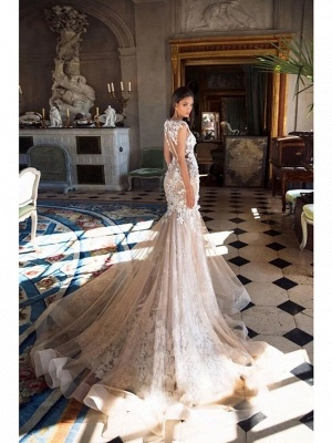 Mermaid \ Trumpet Jewel Neck Chapel Train Lace Tulle Regular Straps Illusion Detail Backless Wedding Dresses_6