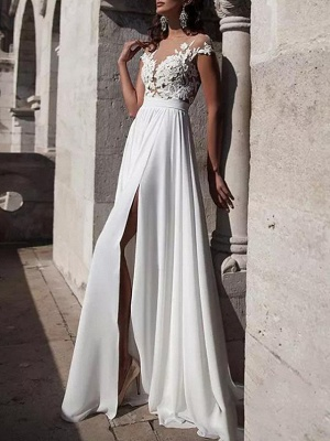 A-Line Wedding Dresses Jewel Neck Sweep \ Brush Train Lace Stretch Satin Cap Sleeve Casual Beach Boho Plus Size_2
