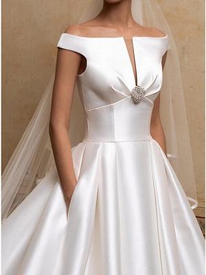 A-Line Wedding Dresses Off Shoulder Sweep \ Brush Train Satin Short Sleeve Simple Elegant_3